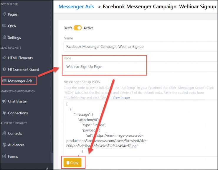 facebook messenger ads integration with chatbot