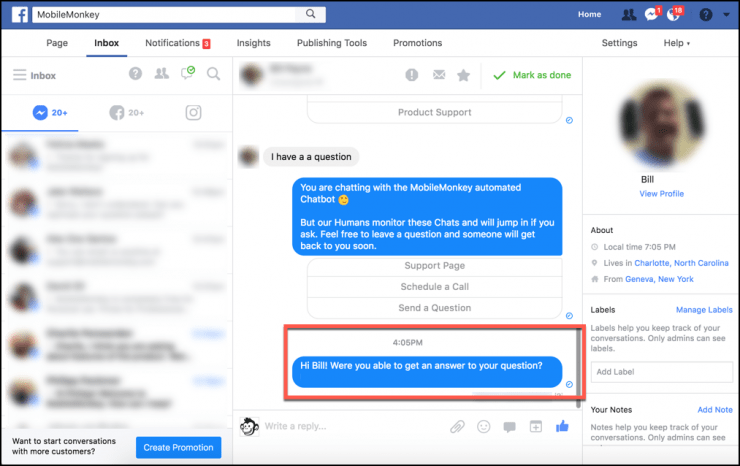 facebook messenger live operator chat takeover