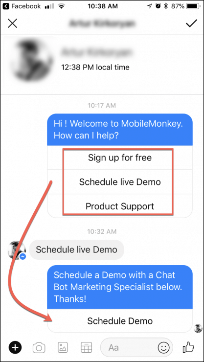 facebook messenger menu faq