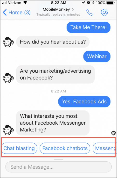 facebook messenger quick question survey buttons