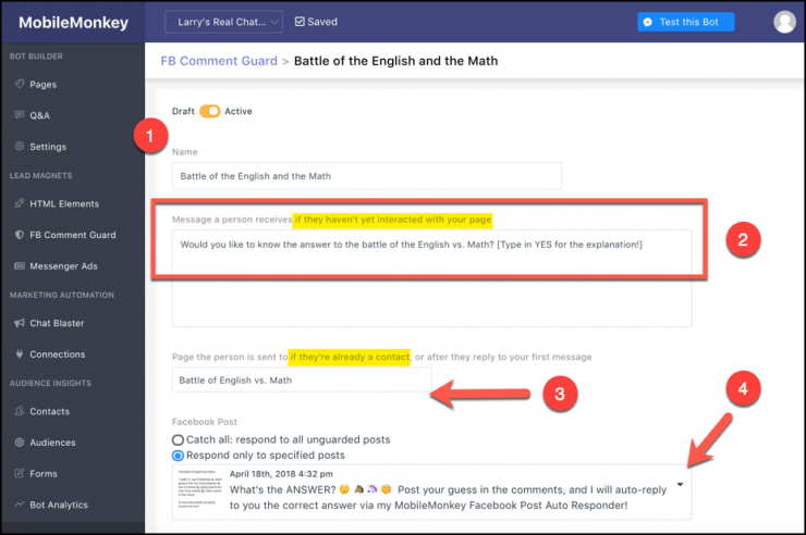 facebook post comment guard creation