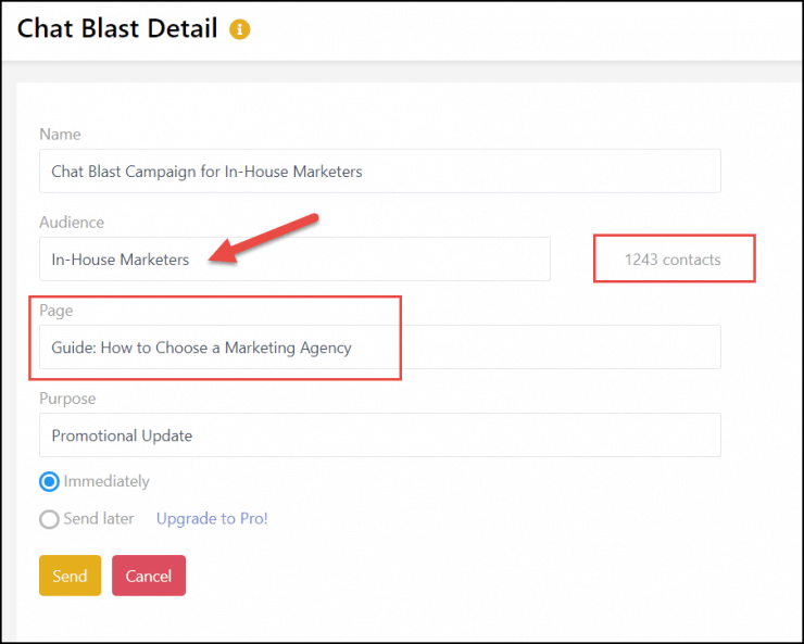 send messenger chat blasts to specific audiences