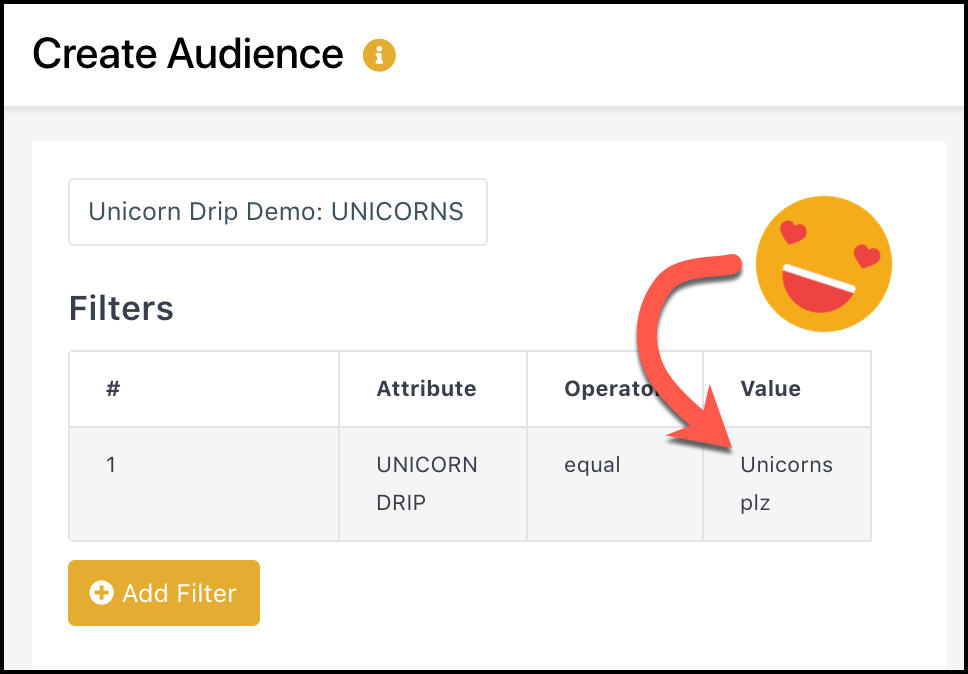 Creating a Drip Campaign in Facebook Messenger - filter creates audience unicorns