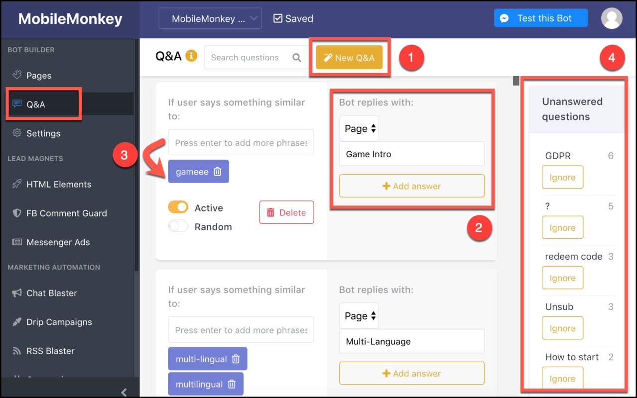How to Create a Chatbot Using MobileMonkey - chatbot qa triggers