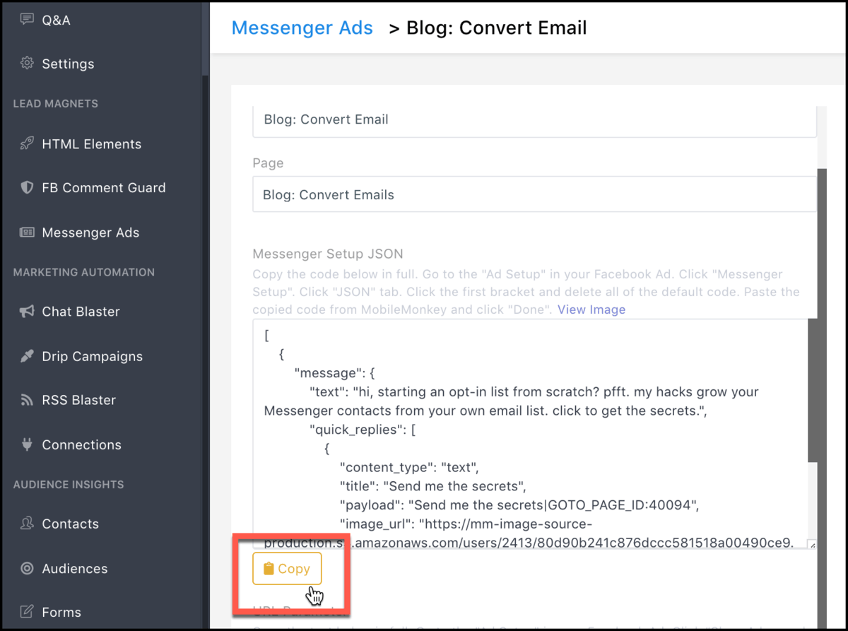Messenger Ads for Blog Posts - copy messenger ad json