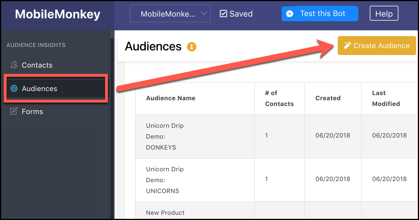 create audience segment