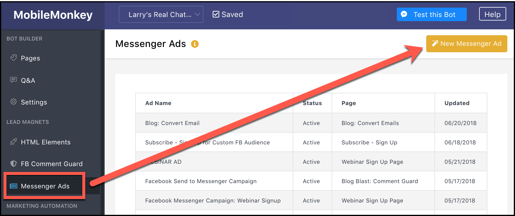 Messenger Ads for Blog Posts - create new messenger ad