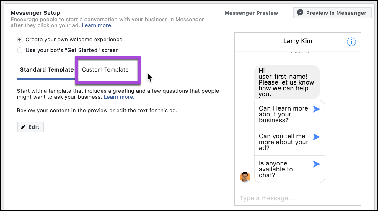 Messenger Ads for Blog Posts - custom template messenger