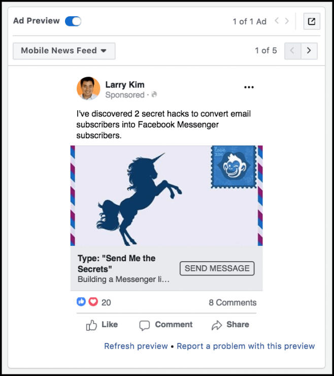 Messenger Ads for Blog Posts - facebook messenger ad preview