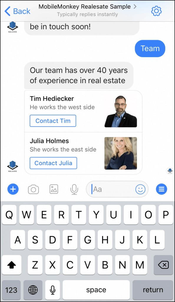 real estate chatbot template team pages