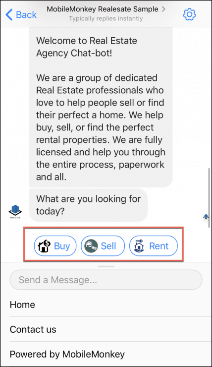 real estate chatbot template welcome page