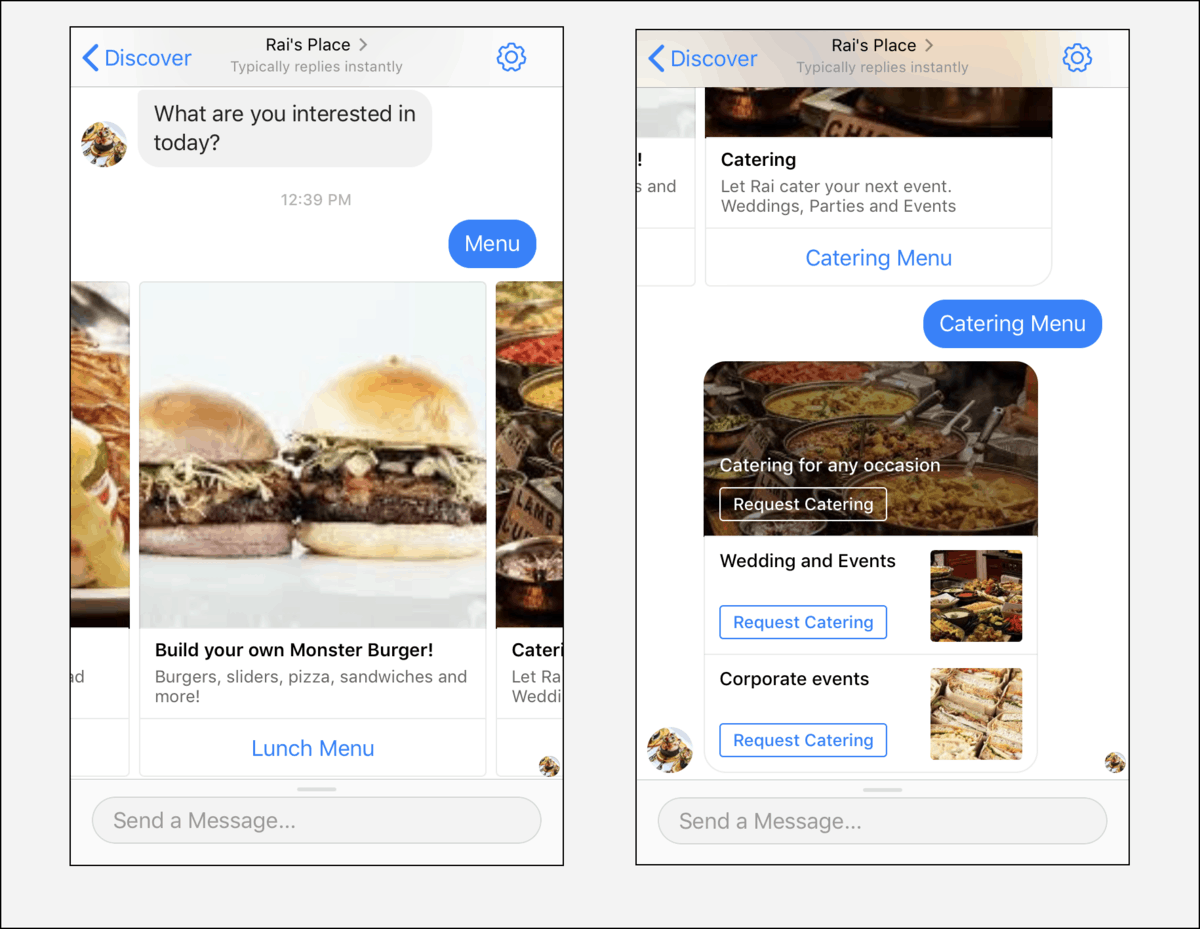 restaurant chatbot template gallery images