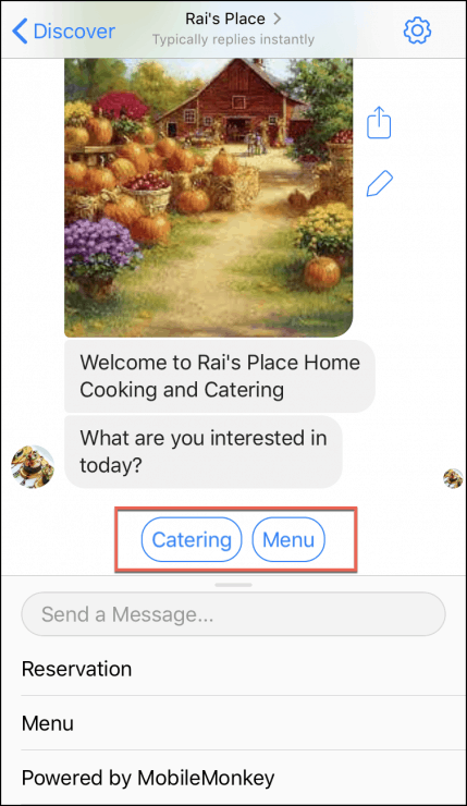 restaurant chatbot template welcome page