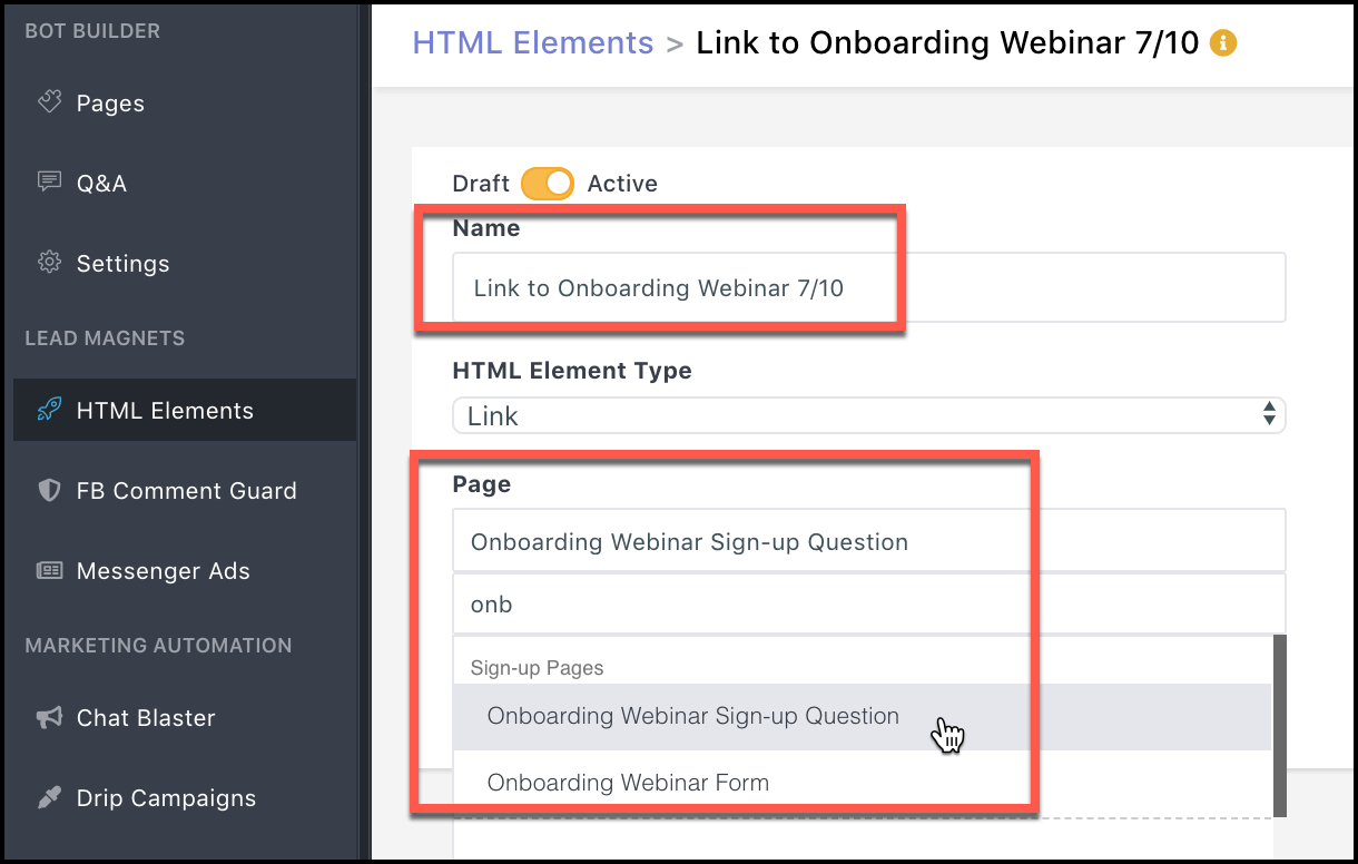 select-page-to-link-to