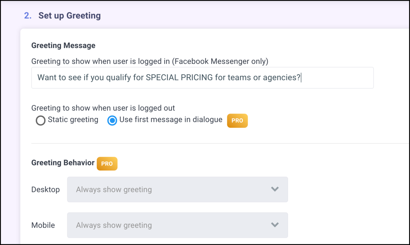 set up facebook customer chat greeting