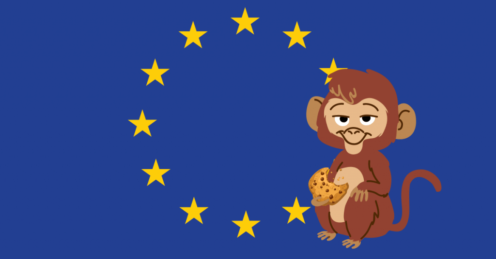 european union flag and monkey