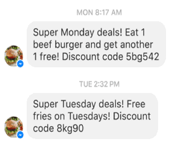 facebook promotional message example