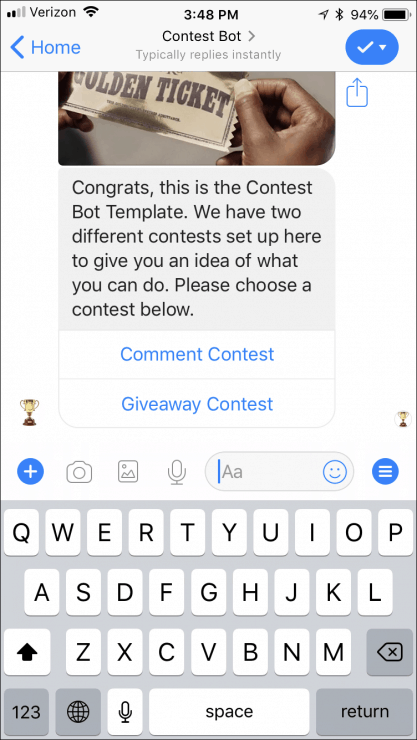 12 Ready-Made Facebook Messenger Chatbots You Can Clone Today - contest-bot