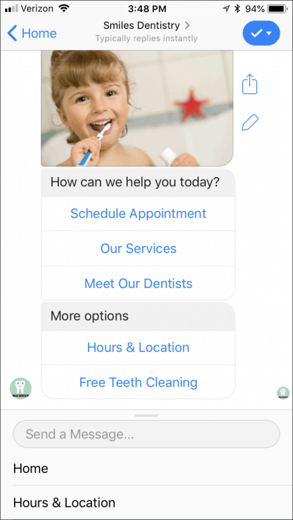 12 Ready-Made Facebook Messenger Chatbots You Can Clone Today - dentist-bot