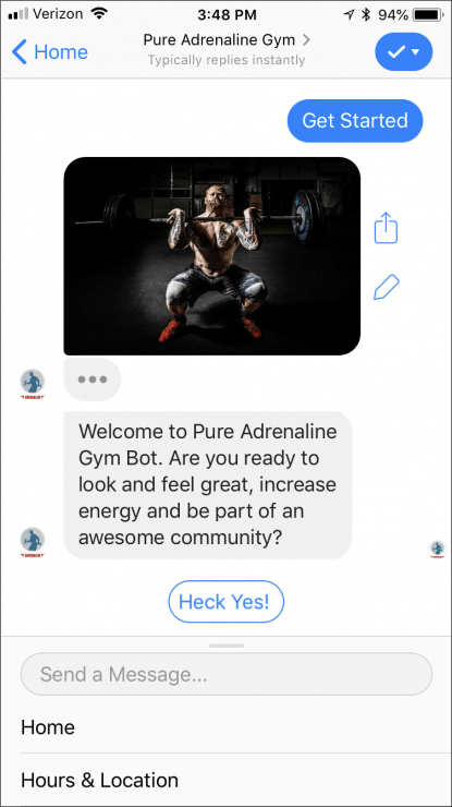 12 Ready-Made Facebook Messenger Chatbots You Can Clone Today - gym-bot