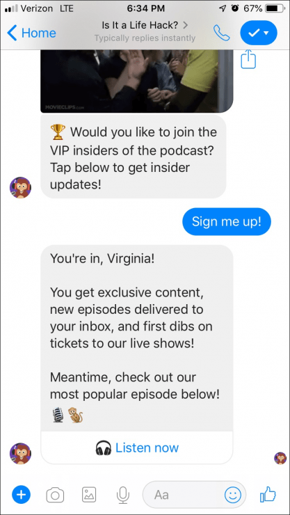 messenger opt-in page