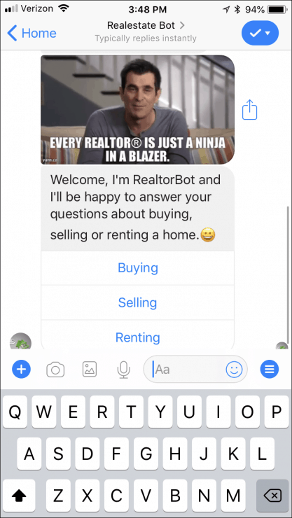 12 Ready-Made Facebook Messenger Chatbots You Can Clone Today - realtor-bot