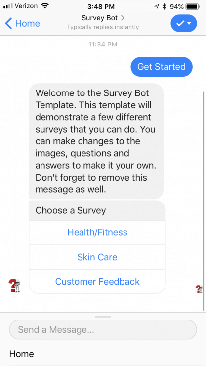 12 Ready-Made Facebook Messenger Chatbots You Can Clone Today - survey-bot