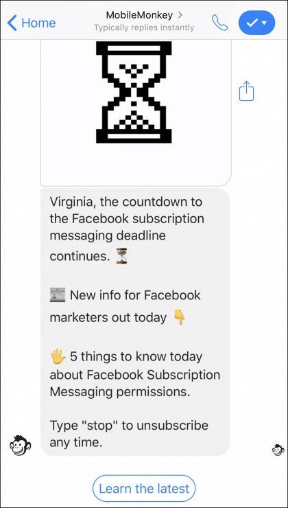 facebook-subscription-messaging-alert Chatbot Examples