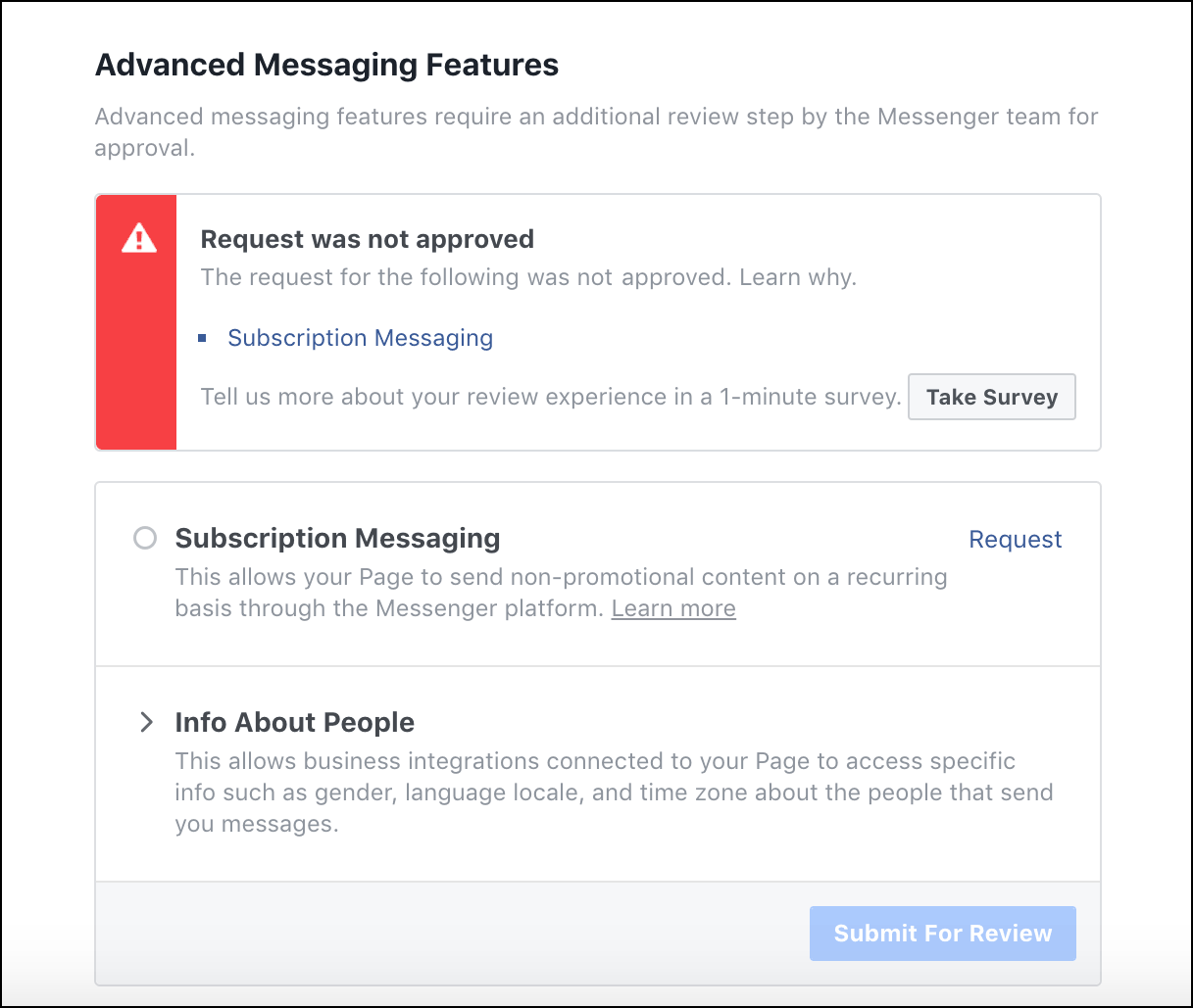 subscription messaging request not approved