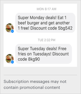 facebooks example of promotional content in messages