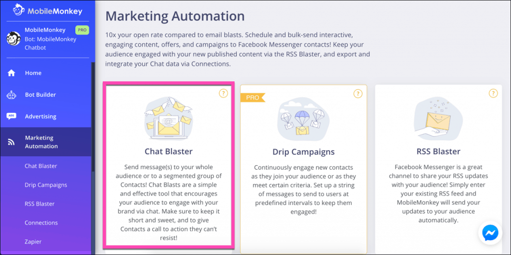 marketing automation tools in mobilemonkey