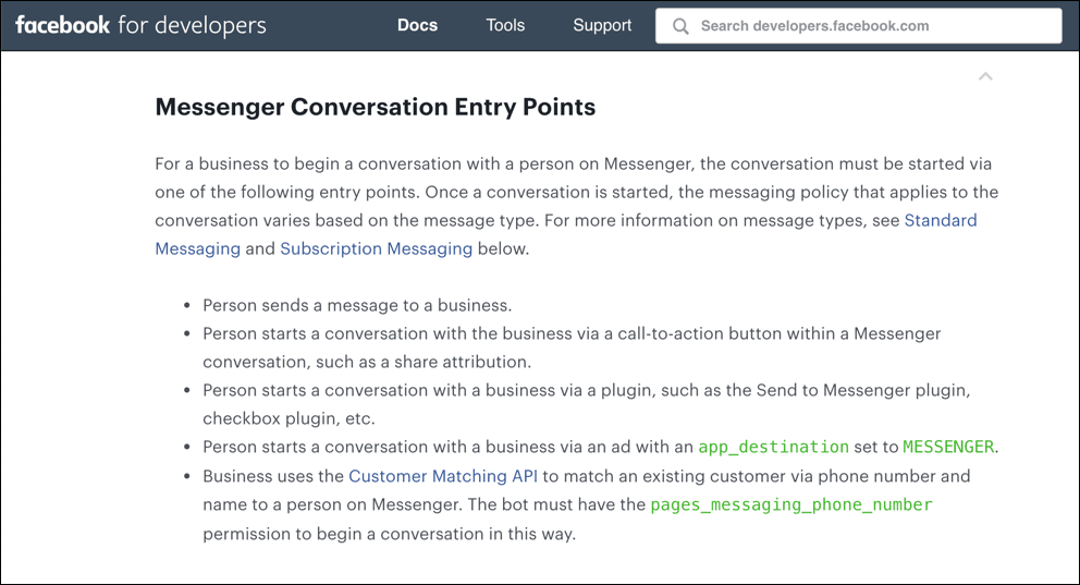messenger conversation entry point