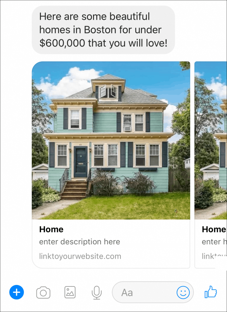 real estate chatbot listings in messenger