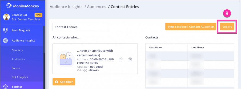 create an audience for contest entries 3