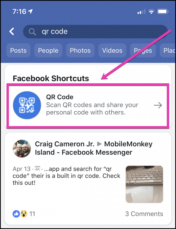 QR Reader in Facebook App