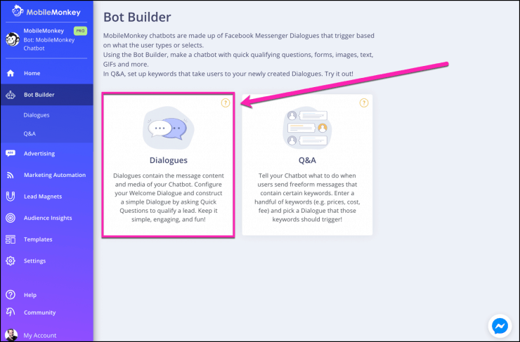 chatbot builder group messaging
