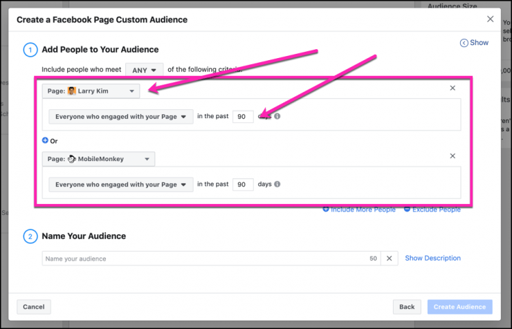 facebook messenger ads - custom audience refinement
