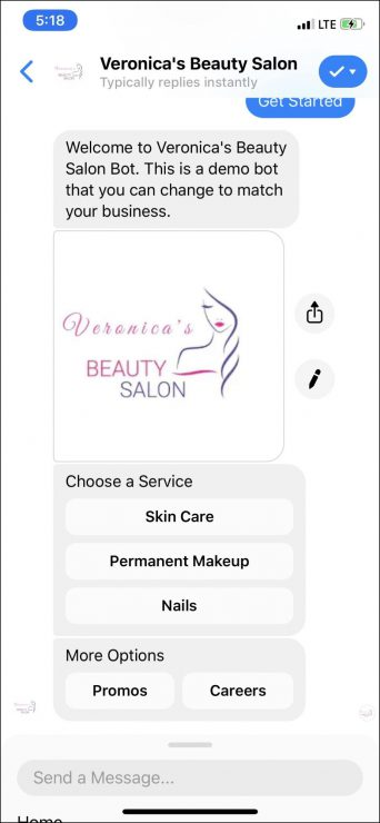 chatbot marketing for beauty salons