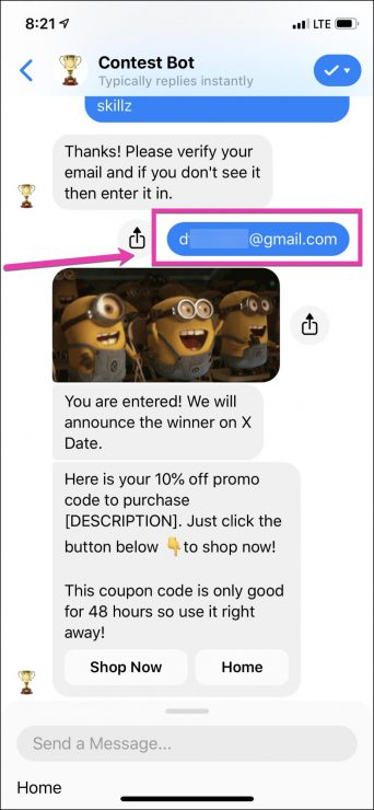 chatbot marketing for contest bot