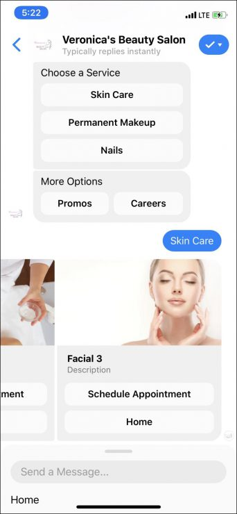 chatbot marketing for beauty salon