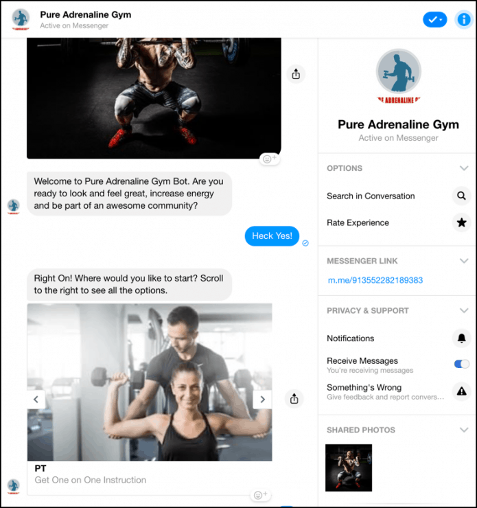 chatbot marketing for gyms