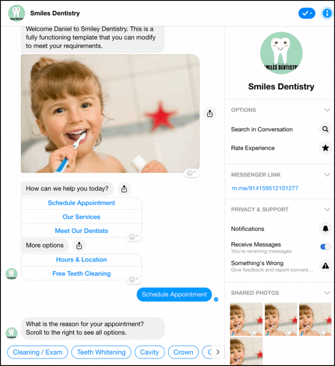 chatbot marketing for dentists