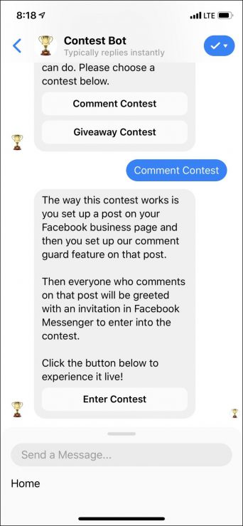 chatbot marketing for contests