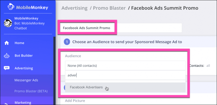 sponsored messages ad pick audience