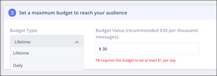 set sponsored messages budget