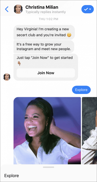 facebook chatbot exclusive invitation