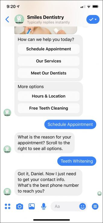 Facebook Messenger Bots for Dentist Business