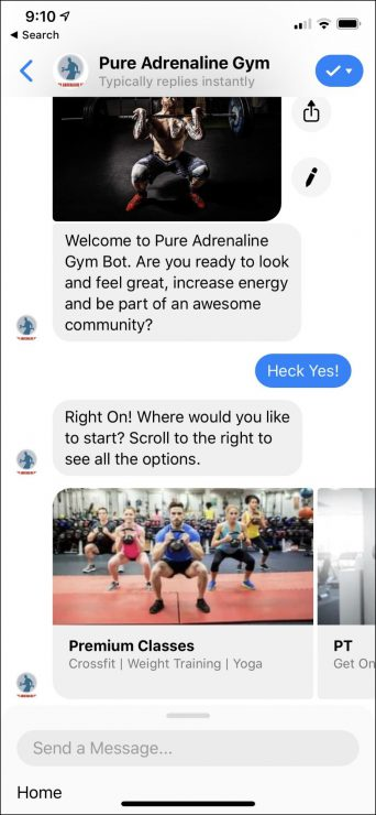 Facebook Messenger Bot for Gym Business