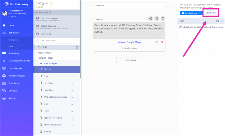 Facebook Messenger Funnel dialogue link