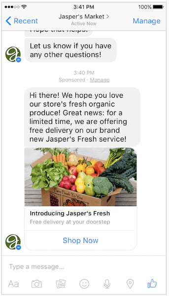 jaspers facebook sponsored message ad